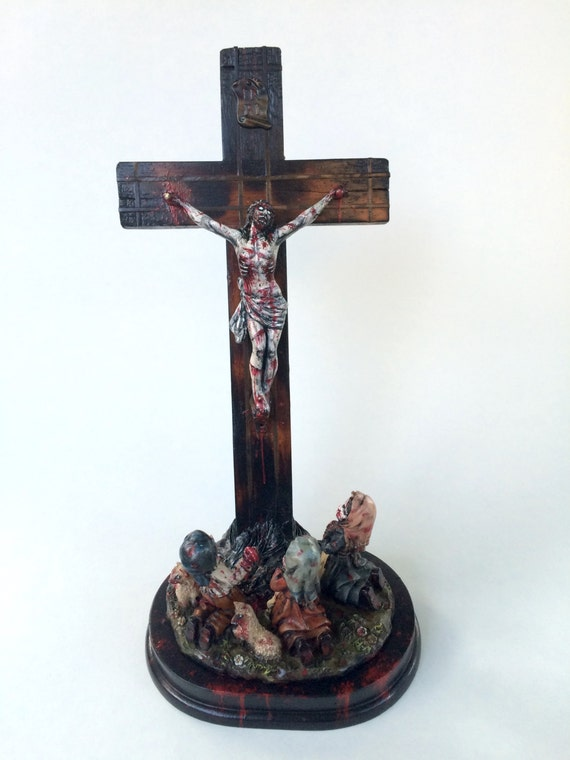 Zombie Jesus Christ on Cross with Children Praying Painted   Etsy