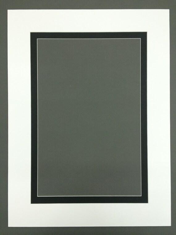 Pack de cinco 5 18 x 24 blanco y negro doble cuadro Mat con | Etsy