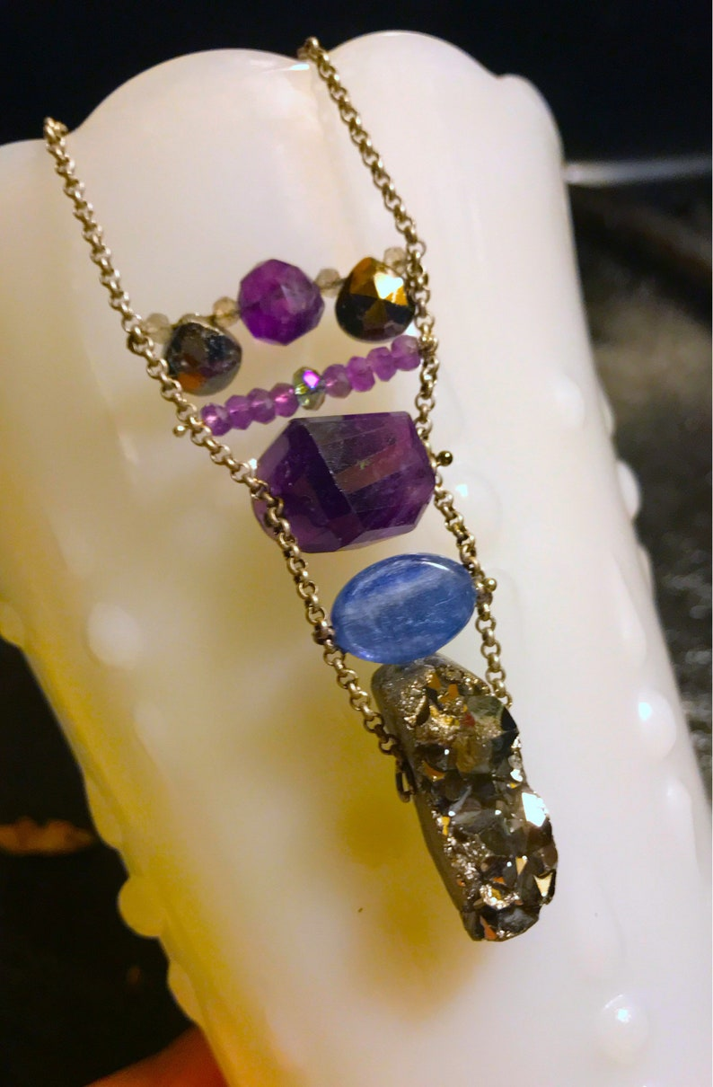Amethyst Chunky Nugget Kyanite Oval Top to Bottom Pendant 5\u201d ONE OF A KIND Pyrite Cluster
