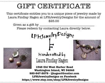 LFHJewelryDesigns 25 Dollar Gift Certificate