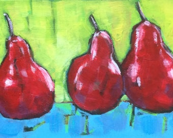 Oil painting, still life, three pears, 'Odd one out'