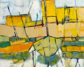Low tide, contemporary art, semi-abstract acrylic painting