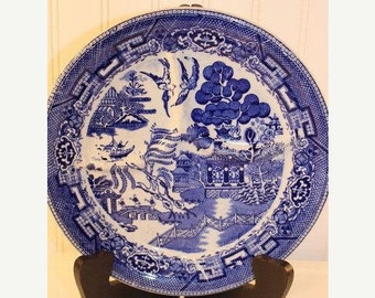 """Vintage 10""""  Blue Willow  Divided Grill Wellsville China Grill Plate  Chop Plate Blue and White 4"""