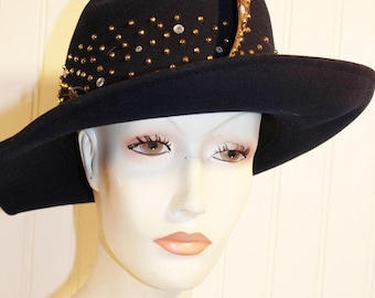 Ladies Vintage 70's Mr John Navy Wool Derby Hat with Feather Rhinestones Gold Studs SZ S