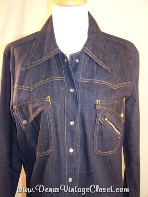 Vintage 60's Denim Buckle Back Shirt Sears Like Ne