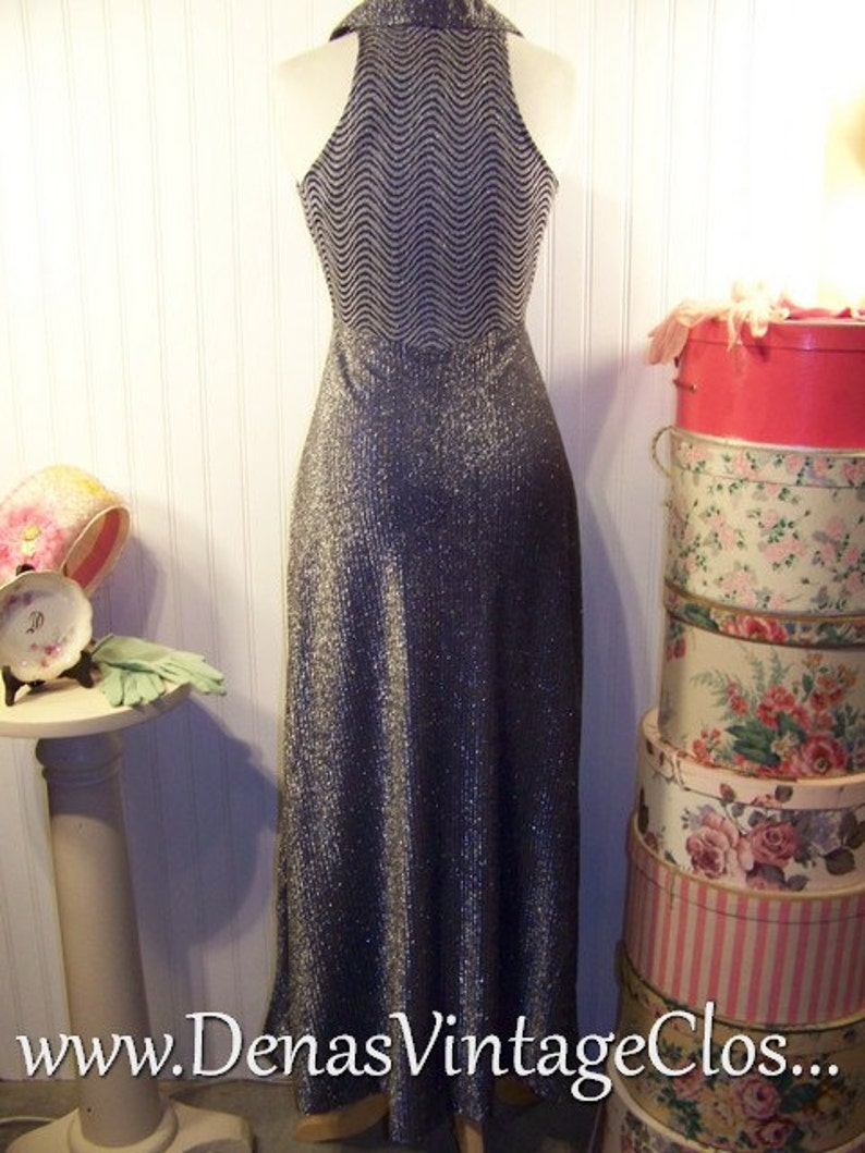 Vintage 70s  Maxi Dress Blue N Silver Metalic Sleeveless Party Dress SZ S