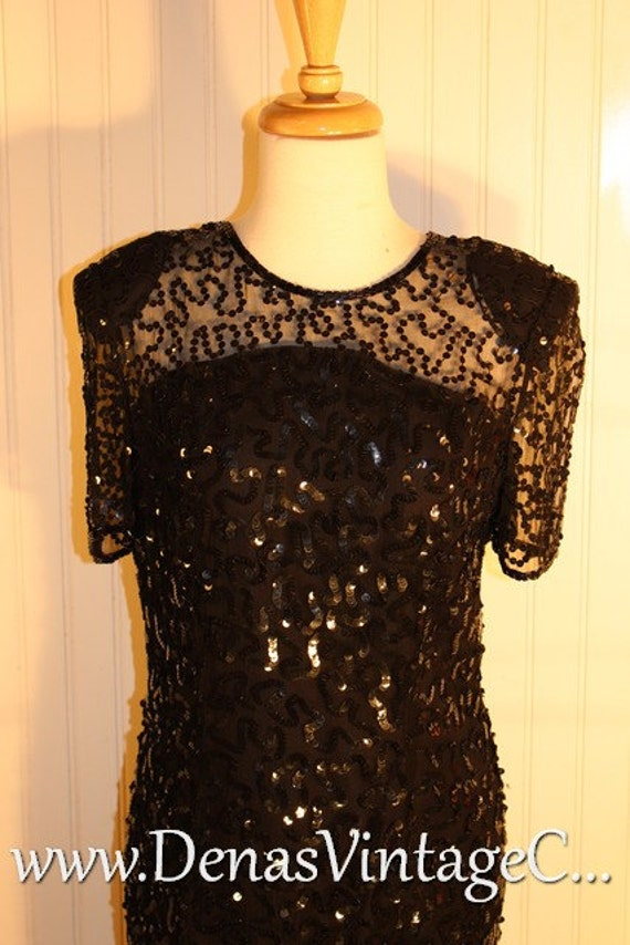 80s Black Vintage Leslie Fay Evenings Silk Beaded