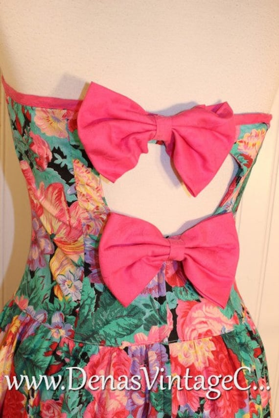 Vintage 80's ACT I Strapless Dress Pink Green Flor