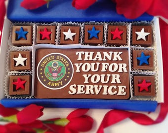 Veterans Day Chocolates - Thank You For Your Service Chocolates - Military Thank You - Serviceman Appreciation - Armed Forces Thank You