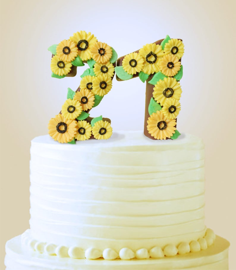 Solid Chocolate Number Cake Topper 21st Birthday