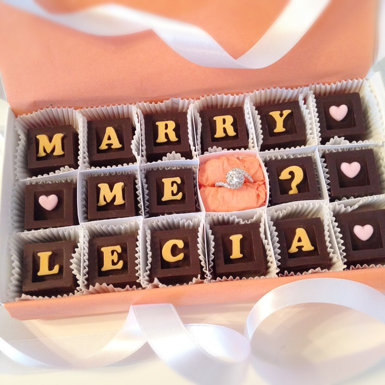Marry Me Chocolates Marriage Proposal Chocolates and Ring Unique Proposal Personalized Marriage Proposal Will You Marry Me Chocolate