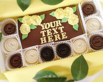 Personalized Chocolate Roses - Chocolate Thank You Gift - Anniversary, Birthday, or Graduation Gift - Chocolate Gift For Her - Hostess Gift