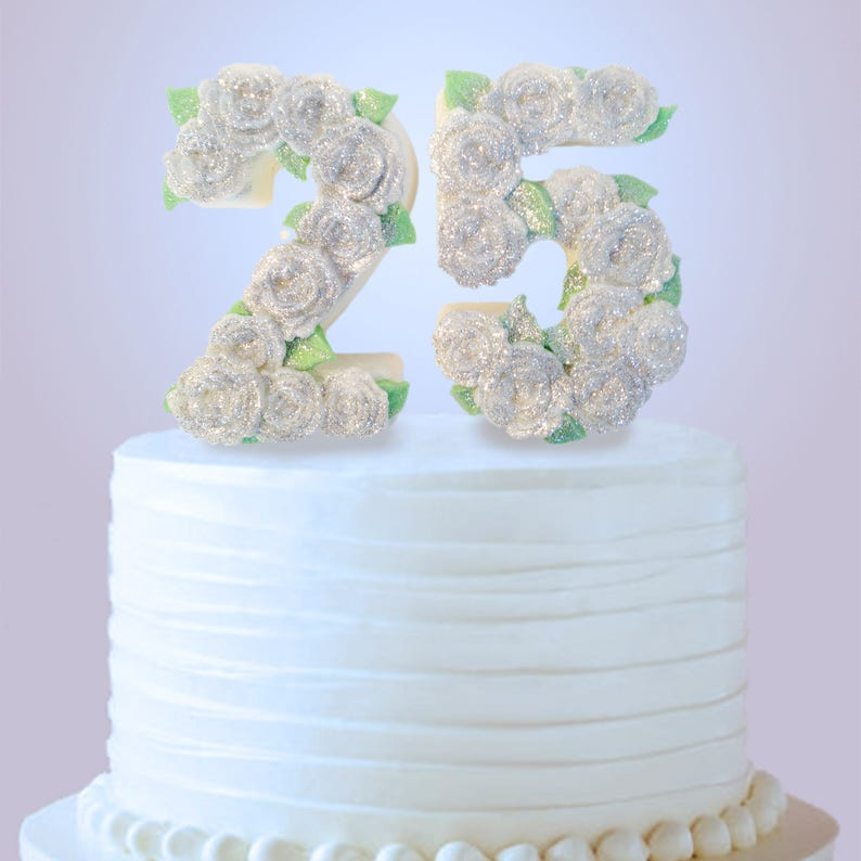 25th Anniversary Cake Topper 25th Birthday Cake Topper Etsy