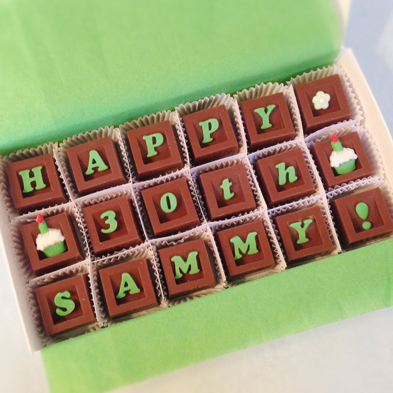 Personalized Birthday Chocolates  Custom Chocolate Birthday image 0