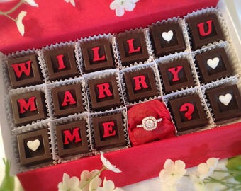 Will You Marry Me Chocolates & Ring - Chocolate Marriage Proposal - Unique Marriage Proposal - Marry Me Chocolates