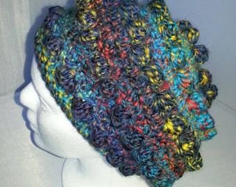 Multicolored Crocheted Woolen Bubble Beret Slouch Hat