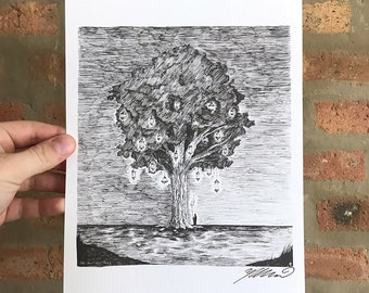The Lantern Tree Giclée Art Print Pen and Ink Drawing
