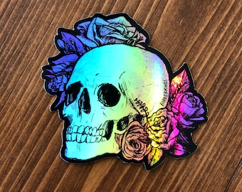 Skull with Flowers Memento Mori Holographic Foil Die-cut Sticker