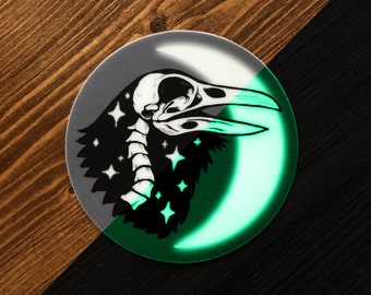 Cosmic Raven Glow in the Dark Sticker, Witchy Corvid Skull and Moon Vinyl Circle Sticker
