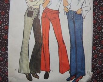 purchase cheap c9de6 c11d1 vintage 1970s simplicity sewing pattern 9977 misses set of hip hugger pants  size 8