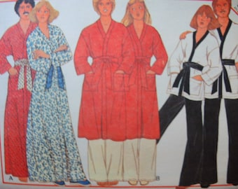 3d828e7641 vintage 1970s McCalls sewing pattern 5818 Misses or mens robe or jacket and  pants UNCUT size small 32-34