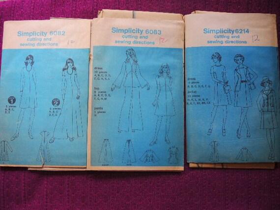 Jahrgang 1970 Einfachheit Muster 6082 6083 6214 drei | Etsy