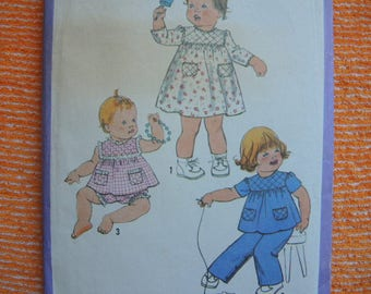 vintage 1970s Simplicity sewing pattern 8897 babies dress or top pants and bloomers size 6 months-1 year