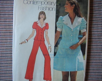 vintage 1970s Simplicity sewing pattern 5472 UNCUT junior petite size 7 two piece dress and pant suit
