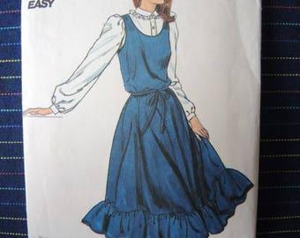 vintage 1980s Butterick sewing pattern 4205 misses dress or  jumper and belt size 12-14-16
