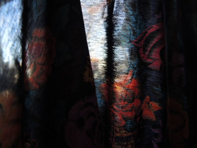 vintage 1980s T shirt fabric abstract urban abstract floral reversible  slightly sheer