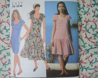 vintage 1990s Simplicity sewing pattern 7325 misses dropped waist dress size 10-12