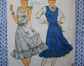 vintage 1980s Butterick sewing pattern 4205 misses dress or  jumper and belt size 18-20-22