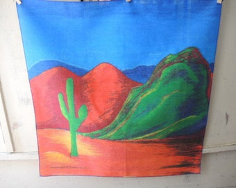 vintage 1980s Hav a Hank bandana scarf desert scene cactus made in the USA cotton poly blend 21 x 22 inches