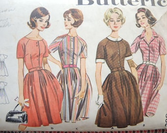 vintage 1960s Butterick sewing pattern 2210 full skirted dress size 12