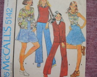 vintage 1970s McCalls sewing pattern 5142 girls shirt or shirt jacket top skirt and pants size 7