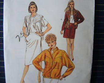 Vintage 1980s Kwik Sew sewing pattern 1427 misses jacket vest and skirt  UNCUT sizes 14-16-18-20