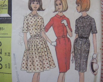 vintage 1960s McCalls sewing pattern 8020 misses dress with slim or full skirt  size 14