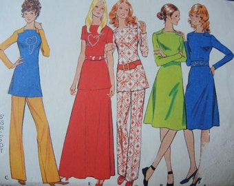 vintage 1970s McCalls sewing pattern 3048 misses dress or tunic pants or skirt size 12