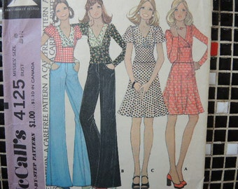 vintage 1970s McCalls sewing pattern 4125 misses top and skirt size 8