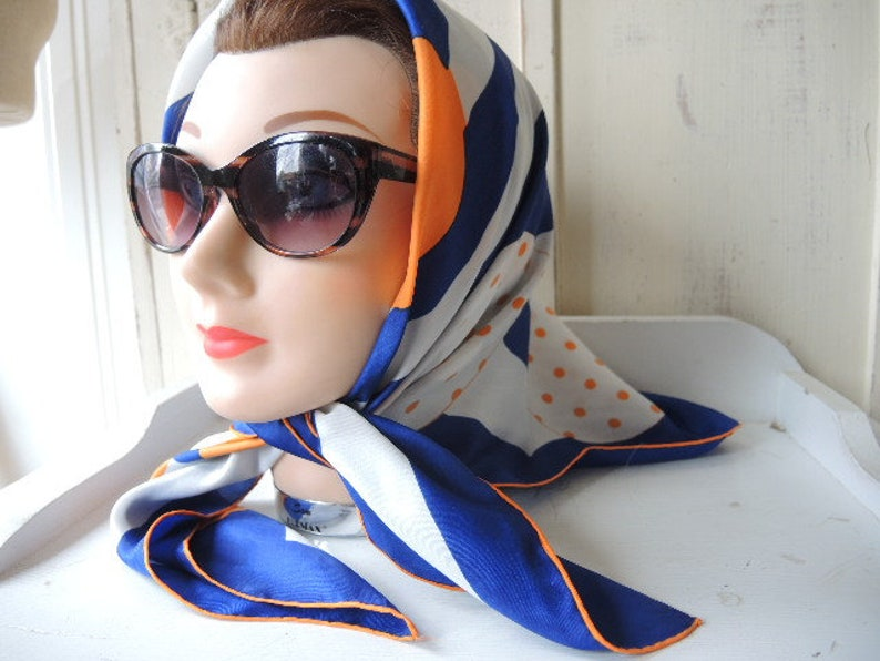 vintage 1960s scarf Sally Gee mod rayon and silk made in Japan abstract  orange blue white 29 x 29 inches