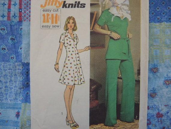 Size 14 DressPantsTop 1970/'s Vintage Simplicity Pattern 6287 Jiffy Knits