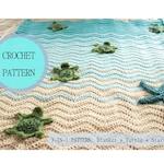 INSTANT DOWNLOAD CRoCHET PaTTERN ~ Sea Turtle Blanket Pattern ~ Includes Blanket, Turtles, & Starfish patterns
