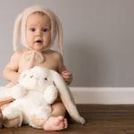 Newborn Knit Angora Bunny Bonnet, Sitter Knit Angora Bunny Bonnet