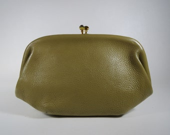 Pebbled Leather Handbag Petite Framed Bag Vintage Olive Green Bag Small Clutch Green Pebbled Leather Bag Vintage Green Clutch Bag