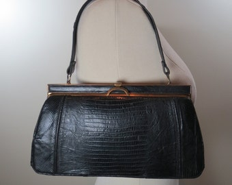 fb63179e6683 Vintage Lizard Skin Handbag Black Leather Bag Reptile Skin Purse Vintage  Handbag Structured Top Handle Bag Mid Century Purse Black Kelly Bag