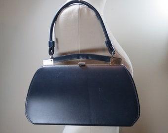 7eea26bfdf2e Vintage Kelly Bag Blue Vinyl Purse Structured Top Handle Bag Vintage  Handbag Mid Century Purse 60s Mod Bag Vintage Framed Purse Vegan Bag
