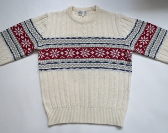 Vintage 90s Sweater Ski Sweater Acrylic Crewneck Sweater, Men/'s Medium? Small? Ugly Sweater Party Dramatic Colors 90s Sit-Com