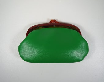 Vintage Vinyl Clutch Petite Framed Bag Kelly Green Bag w/ Tortoise Mini Green Clutch Vegan Vinyl Bag Vintage Make Up Bag Mini Bag Green Bag