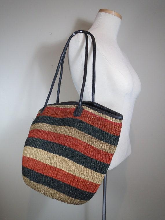 Sisal Bucket Bag Natural Jute Tote Vintage Shoulde