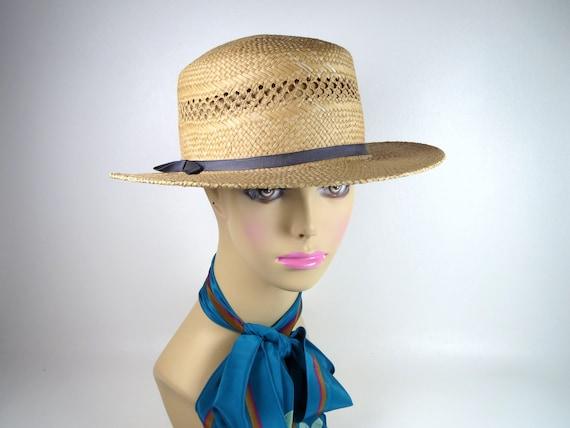 Vintage Banana Republic Straw Hat Women's Woven H… - image 1